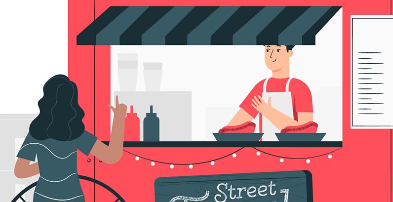 homem vendendo lanche food truck vermelho cliente mulher