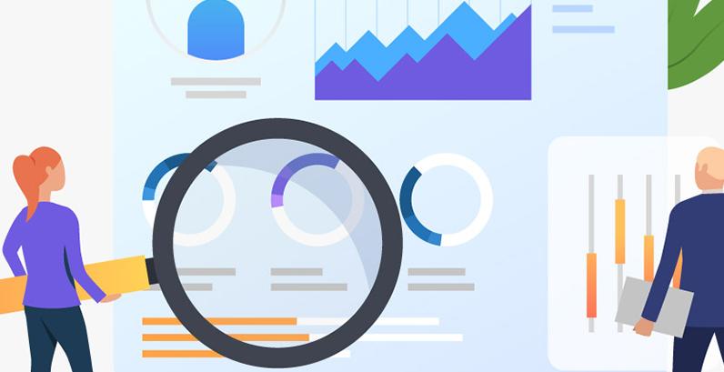 Busca anúncio Google mulher segurando lupa homem conferindo gráfico