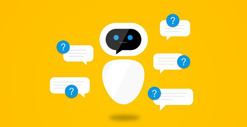 Robô representando chatbot com caixas de chats ao seu redor