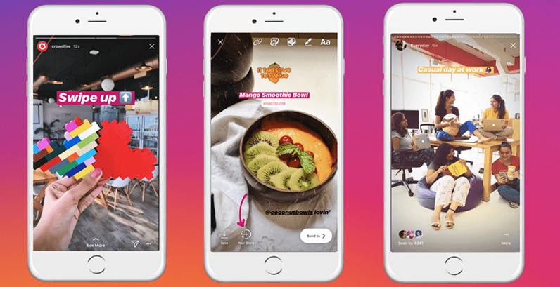 Telas de celular mostrando Stories do Instagram