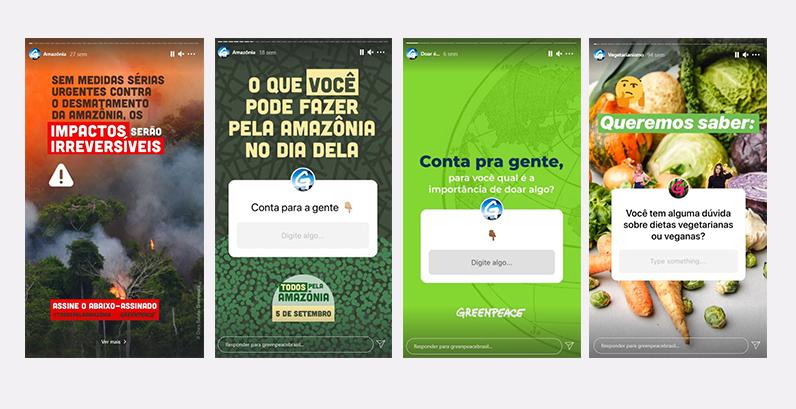 Telas de celulares mostrando Stories do Greenpeace