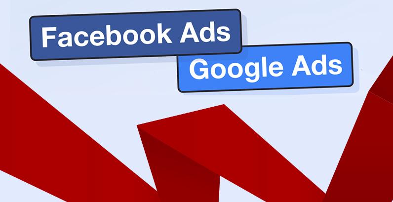 """Termos """"Facebook Ads"""" e """"Google Ads"""" juntos a uma fita vermelha"""