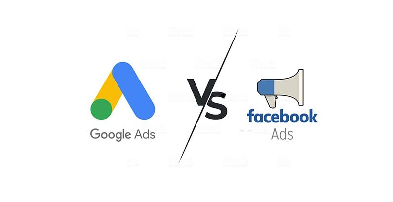 Logotipo do Google Ads Vs Megafone escrito embaixo Facebook Ads