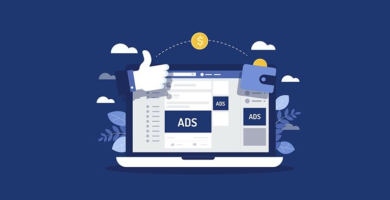 """Imagem com fundo azul no tom do Facebook com um notebook onde se pode ler """"Ads"""""""