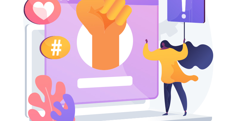 Ilustração de Mulher segurando placa na frente de elementos gráficos de marketing digital