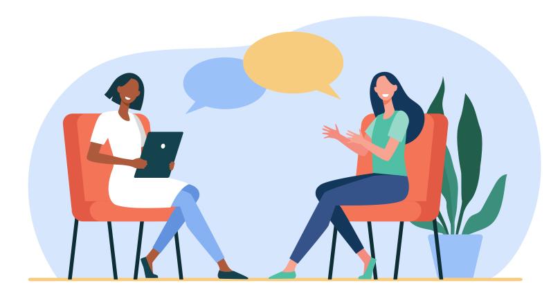 Ilustração de paciente e terapeuta conversando - Marketing Digital para Psicólogos